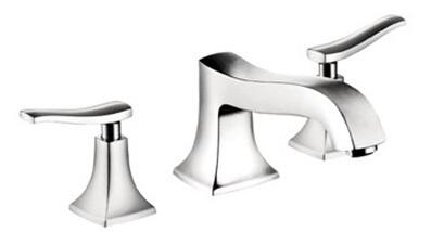 Hansgrohe 31313 Double Handle Three Hole Roman Tub Filler Faucet with Metal Lever Handles from the Metris C Collection: