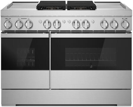 Jenn-Air NOIR JDRP848HM 48-Inch Dual-Fuel Professional Range with Dual Chrome-Infused Griddles