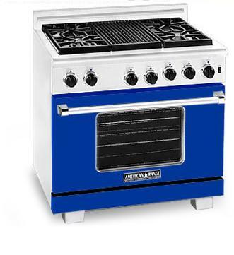 American Range ARR366BU Heritage Classic Series Natural Gas Freestanding Range with Sealed Burner Cooktop, 5.6 cu. ft. Primary Oven Capacity, in Sapphire Blue