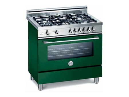 Bertazzoni X365GGVVE Professional Series Dual Fuel Freestanding Range with Sealed Burner Cooktop, 3.6 cu. ft. Primary Oven Capacity, Storage in Green