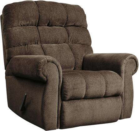 "Signature Design by Ashley 74725 Edger 42"" Rocker Recliner with Rolled Arms, Square Back Profile, Linear Grid Cushioning and Fabric Upholstery in Color"