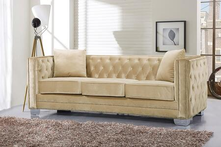 "Meridian Reese 648-S 87"" Sofa with Top Quality Velvet Upholstery, Unique Curved Design and Silver Nail Heads in"