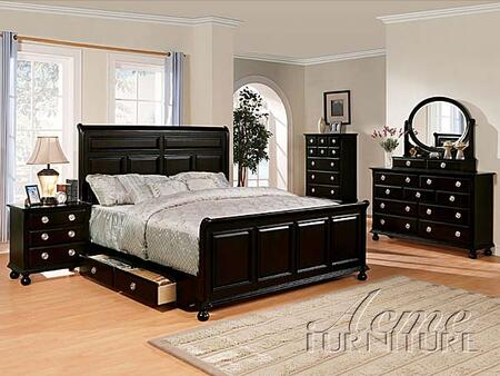 Acme Furniture 01772 Amherst Espresso Sleigh Bed with Storage Drawers