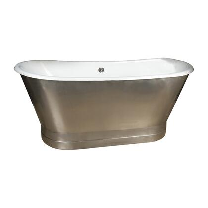 """Barclay CTBATN68MS Sandburg 68"""" Cast Iron Double Roll Top Tub with Stainless Steel Skirt in:"""