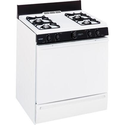 """Hotpoint RGB508PETWH 30"""" RGB508 Series Gas Freestanding Range with 4 Open Burner Cooktop Broiler 