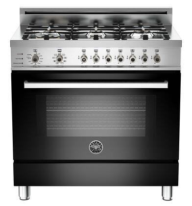 """Bertazzoni Professional PRO366DFST 36"""" Natural Gas Dual-Fuel Self-Clean Range With 6 Brass Burners, 18,000 BTUs Dual-ring Power Burner, 4.0 cu. ft. Electric Self-Clean Convection Oven"""
