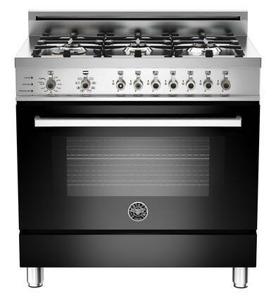 "Bertazzoni PRO366DFSNE 36"" Professional Series Dual Fuel Freestanding Range with Sealed Burner Cooktop, 4.0 cu. ft. Primary Oven Capacity, in Black"