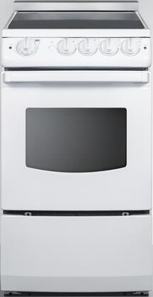 """Summit REX20xRT 20"""" Electric Range with 4 Elements, 2.4 cu. ft. Capacity, Smooth Ceramic Glass Top, Porcelain Oven Interior and Upfront Controls, in"""