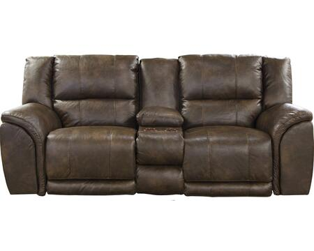 """Catnapper Carmine Collection 4159- 90"""" Lay Flat Reclining Console Loveseat with Bonded Leather Upholstery, Luggage Stitching and Dual USB Port in"""