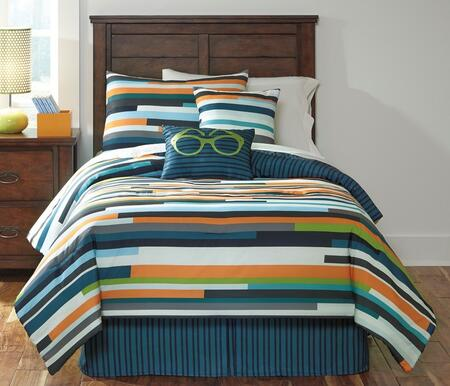 Milo Italia Lakita Collection C1020TMP PC Size Kids Top of Bed Set Includes Comforter, Shams and 1 Bedskirt, 2 Accent Pillows with Striped Pattern and Polyester Material in Stripe Color