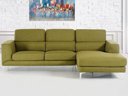 VIG Furniture VGMB1364CGRN Divani Casa Verdant Series Sofa and Chaise Fabric Sofa