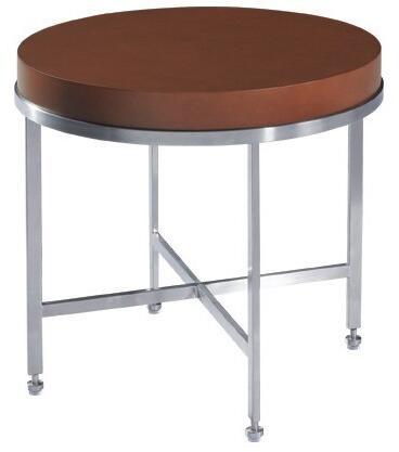 """Allan Copley Designs 20601-02X 25"""" Wide Galleria Round End Table With Brushed Stainless Steel Frame, Criss-Cross Stretcher, In:"""