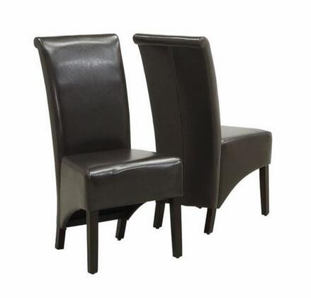 Monarch I 177 Set of Two Leather-Look Parson Chairs, with High Sleek Curved Backs, Cappuccino Finished Legs, and Padded Seats