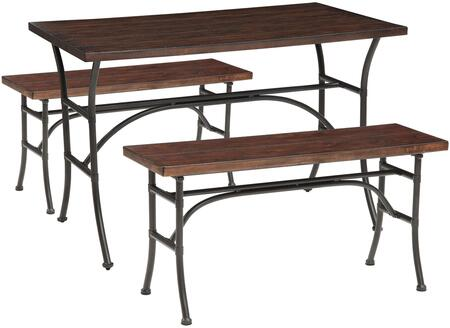 Acme Furniture Domingo Collection 3 PC Counter Height Dining Set with Smooth Rectangular Wood Top, Wooden Bench Seats and Metal Construction in and Antique Black Finish