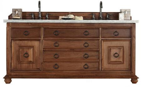 "James Martin Mykonos Collection 550-V72-CIN- 72"" Cinnamon Double Vanity with Five Drawers, Two Doors, Antique Iron Hardware and"