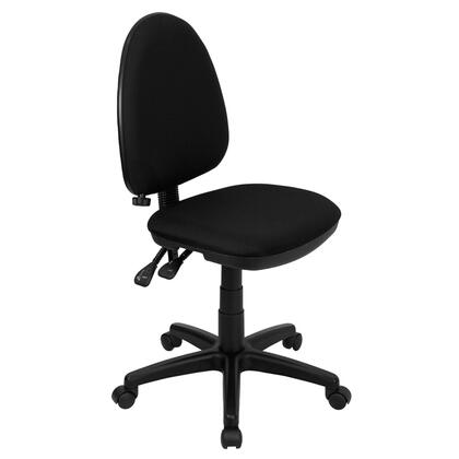 "Flash Furniture WL-A654MG-XX-GG 16.5"" Mid-Back Fabric Multi-Functional Task Chair with Adjustable Lumbar Support, Double Paddle Control Mechanism, and Pneumatic Seat Height Adjustment"