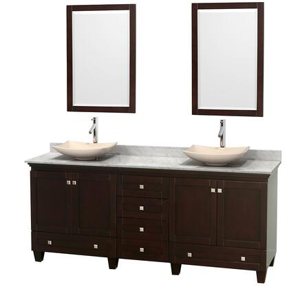 "Wyndham Collection Acclaim 80"" Double Bathroom Vanity with 4 Doors, 6 Drawers, 2 Mirrors, Brushed Chrome Hardware, White Carrera Marble Top and Arista Ivory Marble Sinks in"