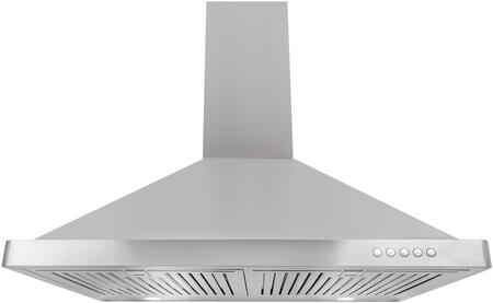 """Cosmo 63190FTxCFM x"""" Wall Mount Chimney Range Hood with 380 CFM, 3 Speed Control, LED Lighting and Dishwasher Safe Baffle Filters, in Stainless Steel"""