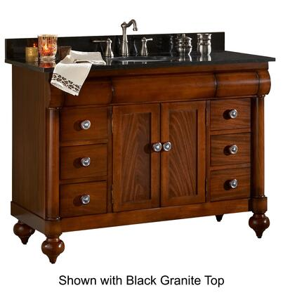 "Kaco John Adams Collection 348-4800 48"" Vanity with 2 Doors, 6 Drawers, Turned Bun Feet and Water Resistant Brown Cherry Finish with Granite Top"