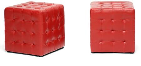 Wholesale Interiors BH5589REDOTTO Siskal Series Modern Faux Leather Ottoman