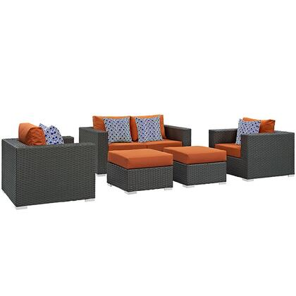 Modway Sojourn Collection EEI-2375-CHC- 5-Piece Outdoor Patio Sunbrella Sectional Set with Loveseat, 2 Armchairs and 2 Ottomans in