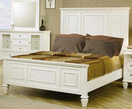Coaster Sandy Beach 201301 Panel Bed with High Headboard, Low Profile Footboard, Turned Legs, Tropical Hardwoods and Veneers Construction in White Color