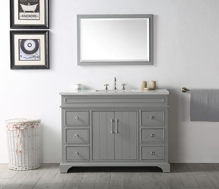 """Legion Furniture WH7748X 48"""" Sink Vanity with Quartz Top, Rectangle Ceramic Sink and 3 Pre-Drilled Faucet Holes"""