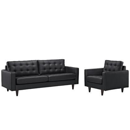Modway EEI-1311 Empress Sofa and Armchair Set of 2 with Modern Design, Solid Wooden Legs, Glides and Deeply Tufted Bonded Leather