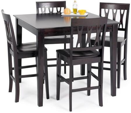 "New Classic Home Furnishings 04-06-012 Abbie 42"" Rectangular Counter Dining Table with Tapered Legs, Contemporary Design and Deep Finish, in"