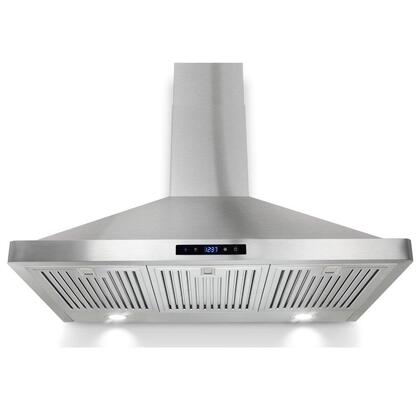 "Golden Vantage GWRBI36S 35"" Wall Mount Range Hood with 760 CFM, 65 dB, Innovative Touch, LED Lighting, 3 Fan Speed, Stainless Steel Baffle Filter and X: Stainless Steel"