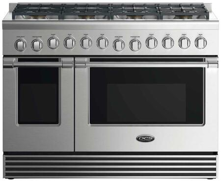 "DCS RDV2488 48"" Dual Fuel Range with 8 Sealed Dual Flow Burners, 4.8 Cu. Ft. Main Oven Capacity, 2.1 Cu. Ft. Secondary Oven Capacity, 5 Shelf Positions, and 6 Oven Functions: Stainless Steel"