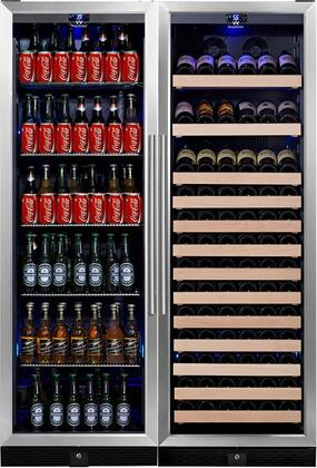 """KingsBottle KBU-170COMBO-BW 48"""" x Temperature Zone Wine Cooler and Beverage Center with 131 Bottle and 450 Can Capacity, Warp Resistant Wood and Chromed Shelves: Glass Door with Stainless Steel Trim"""