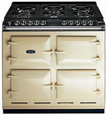 AGA A64NGCRM Six-Four Series Dual Fuel Freestanding Range with Sealed Burner Cooktop, 4.5 cu. ft. Primary Oven Capacity, in Cream