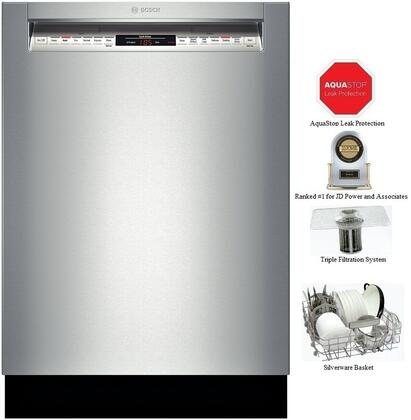 "Bosch SHE68TL5UC 24"" 800 Series Built In Full Console Dishwasher"