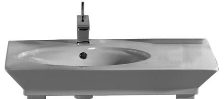 "Barclay B/96WH Opulence Small Oval Basin Only, with Pre-drilled Faucet Holes, Overflow, 4.5"" Basin Depth, and Vitreous China Construction, in White"