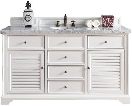 "James Martin Savannah Collection 238-104-V60S-CWH- 60"" Cottage White Single Vanity with Two Soft Closing Doors, Five Soft Closing Drawers, Antique Pewter Hardware and"