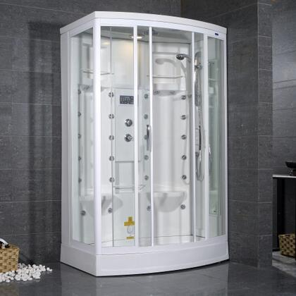 Aston Global ZA213- Steam Shower, White, 24 Body Jets, 2 Built-in Seats, Storage Shelves, Adjustable Feet for Leveling - Hand