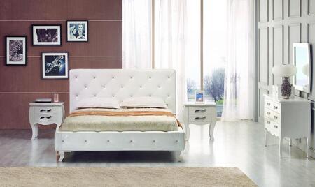 VIG Furniture VGJYMONTECARLOWHTCQDMN Modrest Monte Carlo Que