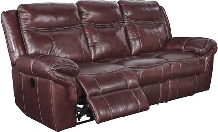 """Signature Design by Ashley Zephen U74400SF 94"""" Leather Match Reclining Sofa with Contrast Stitching, Thick Padded Arms and Gently Distressed Upholstery in Mahogany Color"""