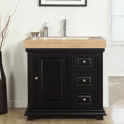 """Silkroad Exclusive V0285TR36 36"""" Single Sink Cabinet with 3 Drawers, 1 Door, Travertine Top and Ramp Sink (1-Hole) in Espresso Finish"""