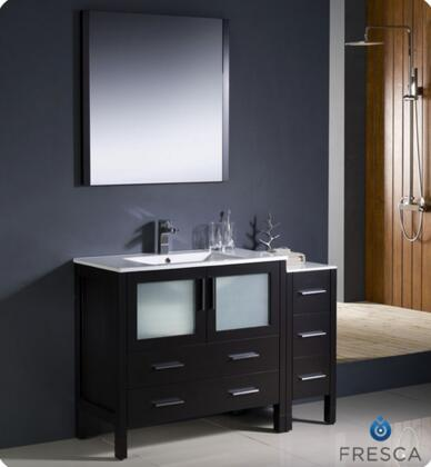 "Fresca Torino Collection FVN62-3612XX-UNS 48"" Modern Bathroom Vanity with Side Cabinet, Integrated Sink and 5 Soft Closing Drawers in"