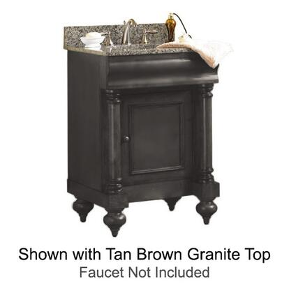 """Kaco Guild Hall Collection 725-2400-B 24"""" Single Sink Vanity with Adjustable Shelf, 1 Door and Removable Drawer in Distressed Black Finish with Granite Top"""