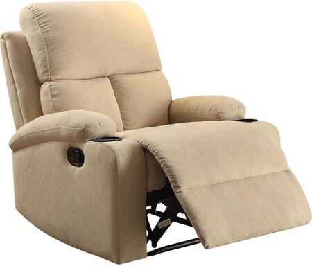 "Acme Furniture Rosia Collection 32"" Recliner with External Latch Handle, Pillow Top Arms, Cup Holders, Pocket Coil Seating, Wood Frame and Linen Fabric Upholstery in"