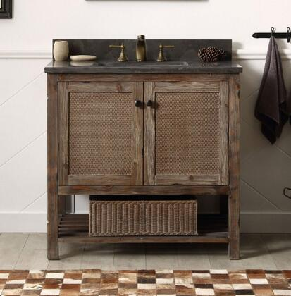 """Legion Furniture WH51XX-BR X"""" Wood Sink Vanity with Doors, Bottom Shelf, Natural Moon Stone Top and White Ceramic Sink with Overflow in Brown Rustic Finish"""