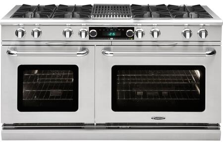 """Capital Connoisseurian COB604B4-X 48"""" Freestanding Dual Fuel Electric Range with 8 Open Burners, Primary 4.6 Cu. Ft. Oven Cavity, Secondary 3.1 Cu. Ft. Oven Cavity, and Moto-Rotis, in Stainless Steel"""