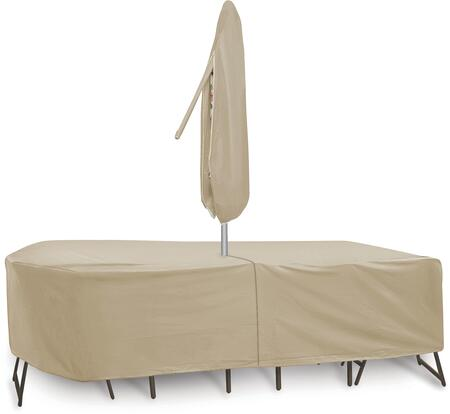 """PCI by Adco 135"""" x 80"""" x 30"""" Oval/Rectangular Table and 6 Patio Chairs Cover with Umbrella Hole, Water Resistant, Secured Velcro Ties and Heavy Duty Vinyl Fabric in"""