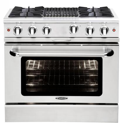 "Capital MCOR364BL 36"" Culinarian Series Gas Freestanding Range with Open Burner Cooktop, 4.9 cu. ft. Primary Oven Capacity, in Stainless Steel"