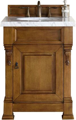 "James Martin Brookfield Collection 147-114-V26-COK- 26"" Country Oak Single Vanity with One Soft Closing Door, Backsplash, Hand Carved Filigrees and"