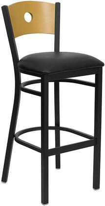 "Flash Furniture HERCULES Series XU-DG-6F6B-CIR-BAR-XXV-GG 32"" Circle Back Metal Restaurant Bar Stool with Natural Wood Back, Commercial Design, Vinyl Seat, Foot Rest Rung, and Plastic Floor Glides"