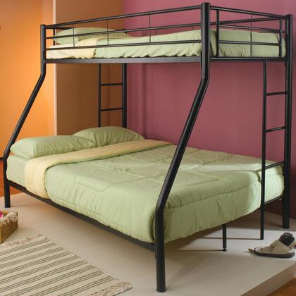 Coaster Denley Collection Twin over Full Bunk Bed with Full Length Guard Rails, Built-In Ladder and Metal Construction in